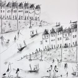 Harbourside Sketch II by Rebecca Lardner - Original Drawing on Mounted Paper sized 16x16 inches. Available from Whitewall Galleries